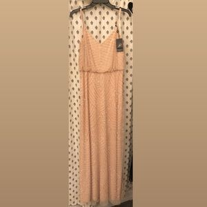 Adrianna Papell Art Deco Blouson Beaded Gown Blush